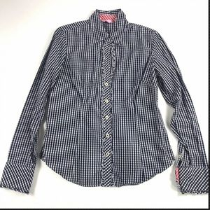 Lilly Pulitzer Blue Check Print Button Front Shirt
